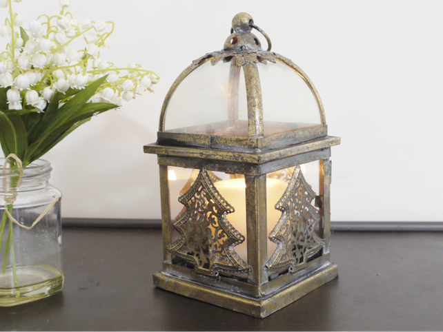 Dutch. Glass and metal Christmas Tree Lantern.