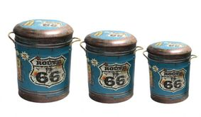 Metal storage stool/container Route 66. Coming soon.