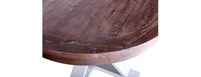 Bruges range: Round dining table. Built from reclaimed wood.