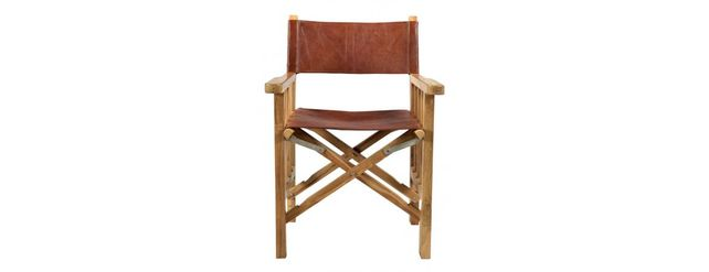Leather wooden director style chair.