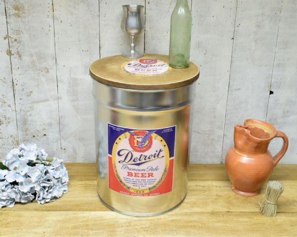 Retro Metal Stool/side table. Detroit Beer. Great Dad gift.
