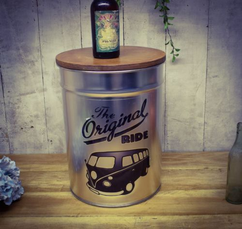 Retro Metal Stool/side table. Camper van. Great Dad gift.