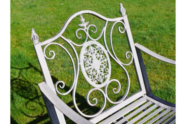 Antique grey garden rocking chair.
