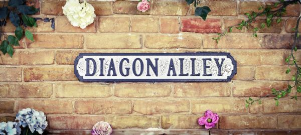 Wooden Diagon Alley Black and crackle white sign. great gift