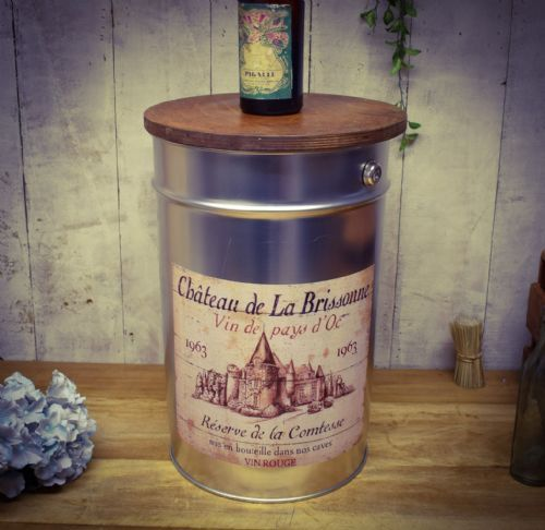 Retro Metal Stool/side table. Wine. Great gift.