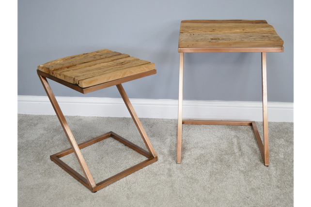 Loft: Reclaimed wooden sleeper and steel side table set.