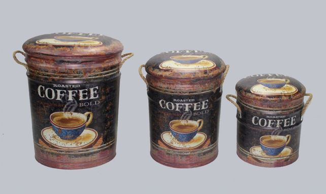 Metal storage Stools / container Coffee