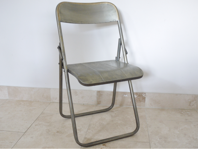 Loft industrial steel folding chair.
