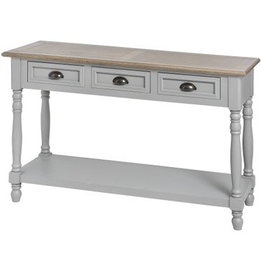 London bridge range:Grey wooden 3 drawer console table.