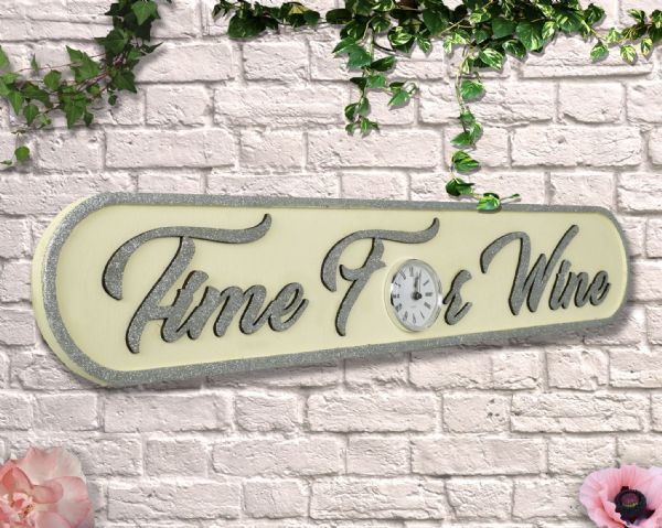 Wooden Time For Wine cream with Glitter Clock Sign.