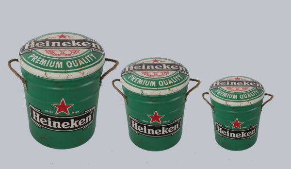 Metal storage Stools / container. Heineken. Sold out.