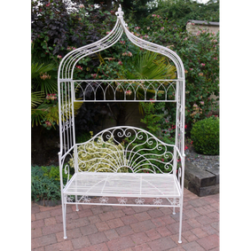 Garden bench in milk white.