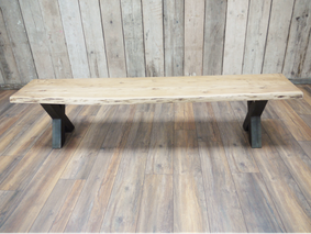 Acacia wooden long bench.