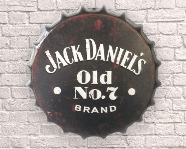 Large Metal Printed Bottle Top 40cm. Jack D No7.