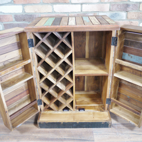 Reclaimed wooden Bar Cabinet. Back soon.