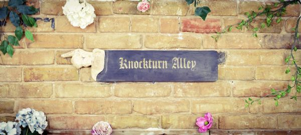 Wooden Black and antique white Knockturn alley sign. Perfect gift.
