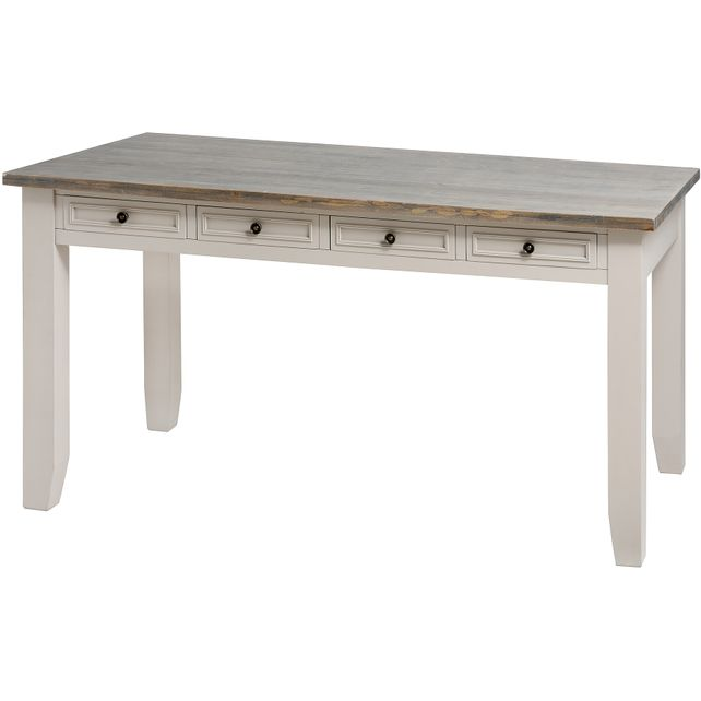 Bath range :Neutral wooden eight drawer dining table.