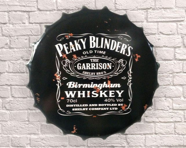 Large Metal Printed Bottle Top 40cm. Peaky Blinders Whiskey.