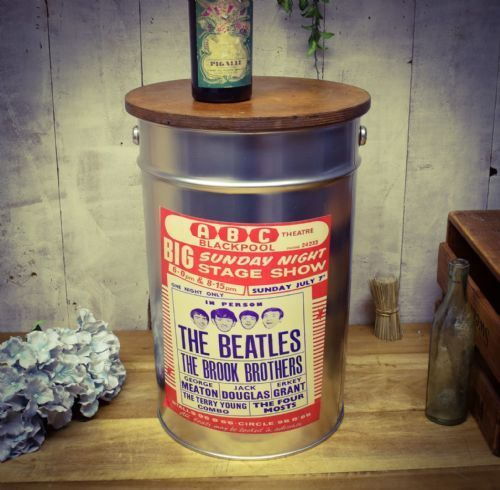 Retro Metal Stool/side table. Beatles. Great Dad gift.