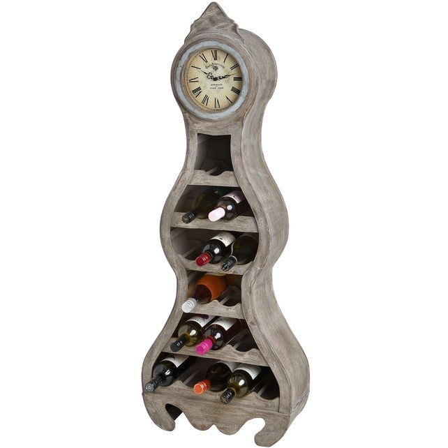 Clock with wooden wine rack.