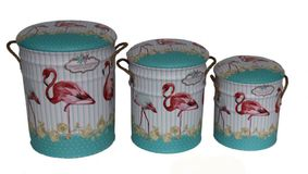 Metal storage Stools / container. Flamingo