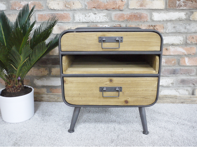 Loft Retro Industrial bedside/lamp table cabinet.