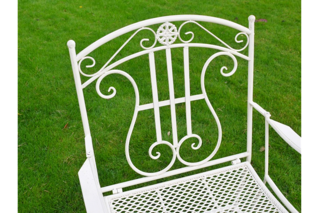 White garden arm chair.