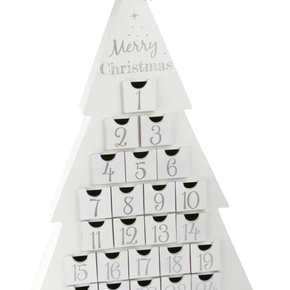 Wooden White Advent Calendar.