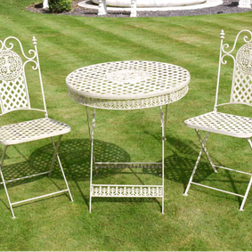 Garden bistro set in off white.