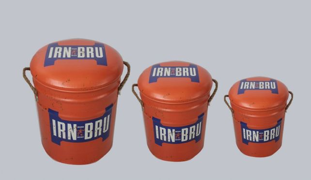Metal storage Stools / container Irn Bru