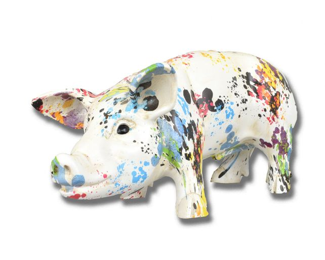 Paint splash pig art piece. Limited edition. Coming soon.