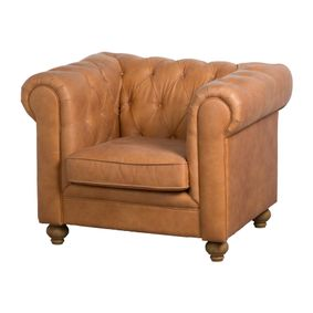 Tan Faux Button Pressed Chesterfield Chair.