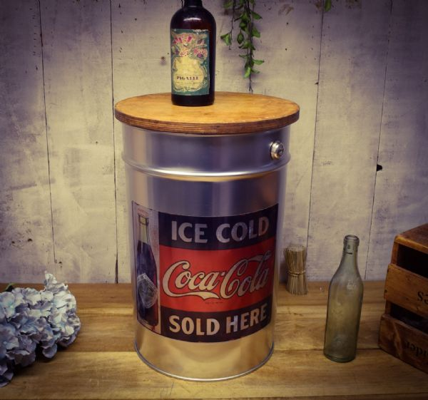Retro Metal Stool/side table.Coke. Great gift.