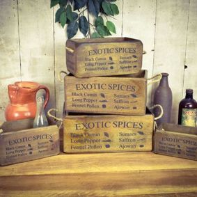 Exotic Spices hardwood boxes.