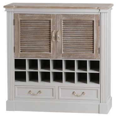 Vannes range: Louvered drinks cabinet two drawer and storage.