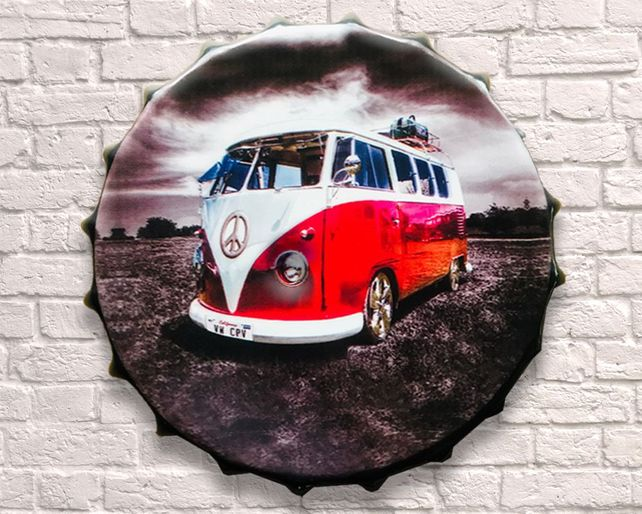 Large Metal Printed Bottle Top 40cm. VW Camper.