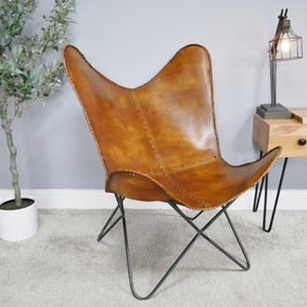 Loft: Leather and steel butterfly chair.
