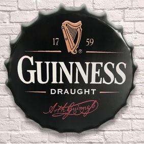 Large Metal Printed Bottle Top 40cm. Guinness.