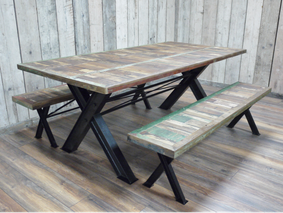 Loft dining table with 2 benches.