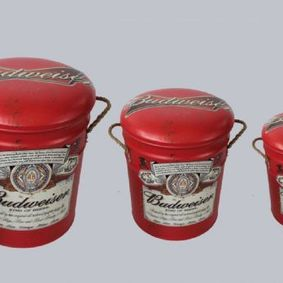 Metal storage Stools / container. Budweiser.
