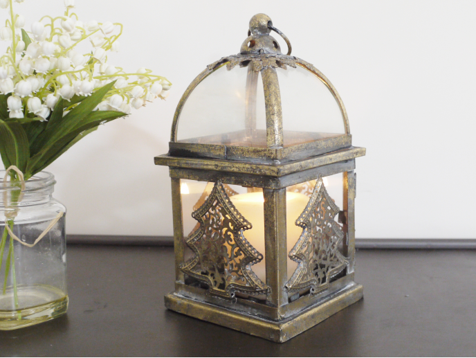 Glass and metal Christmas Tree Lantern.