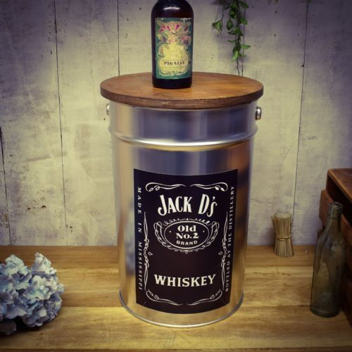 Retro Metal Stool/side table. Jack D Silver. Great Dad gift.