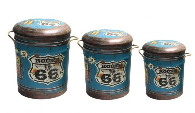 Metal storage stool/container Route 66
